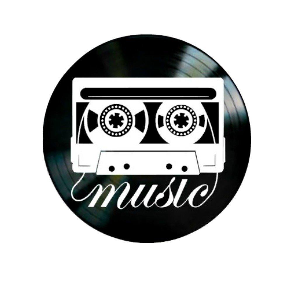 Music Cassette Tape on Vinyl Record Wall Art