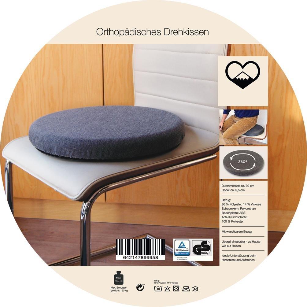Cuscino ortopedico girevole diametro di 39 cm ruotabile di 360/° dispositivo di ausilio per la salita a bordo con una portata massima di 150 kg