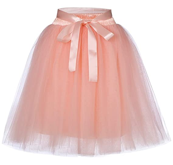 4705888b0d Women's Above Knee Tulle Skirt A-line Adult Petticoat 7 Layer with ...