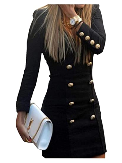8802bbce384 koobea Femme Robe à Manche Longue Décontractée A-Ligne Robe Noir-XL   Amazon.fr  Vêtements et accessoires