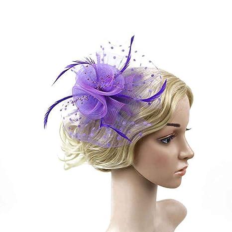 Bobury Clip di capelli del cappello della rete della piuma del fiore delle  donne per il 8228895cecd6