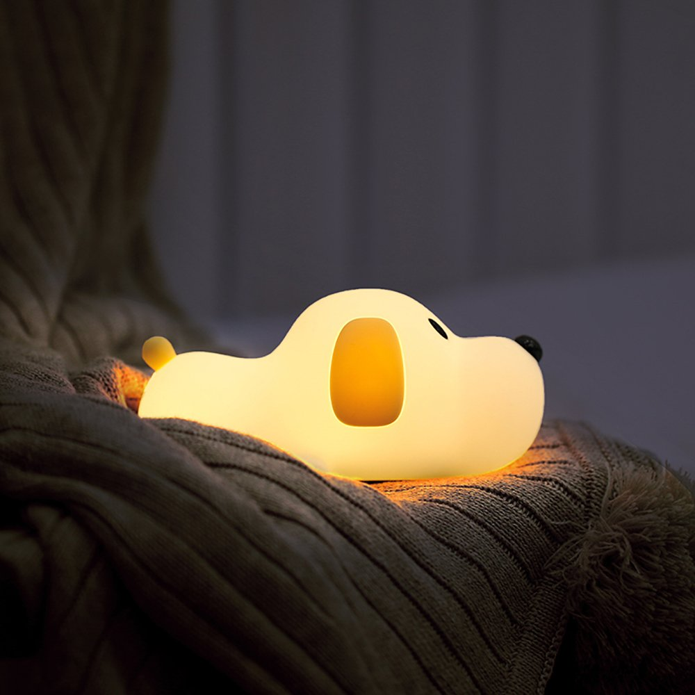 LED Doggy Night Light, Bysameyee Soft Puppy Silicone Baby Nursery Lamp, Sensitive Tap Control Timing Sleep for Kids Toddler Women Bedroom