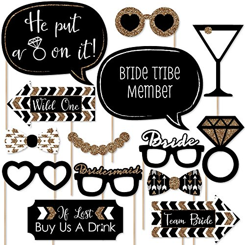 Big Dot of Happiness Bride Tribe - Bachelorette Party Photo Booth Props Kit - 20 Count