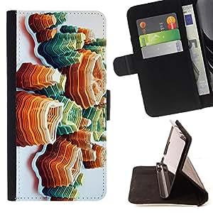 "For Motorola Moto E ( 2nd Generation ),S-type Arte Island Montañas anaranjadas"" - Dibujo PU billetera de cuero Funda Case Caso de la piel de la bolsa protectora"