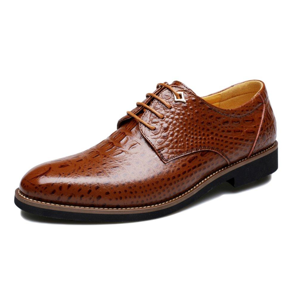 Krokodilleder der Frühlings-Männer Beschuht Geschäfts-Mode-zufällige Schuhe Braun Braun Braun bb5539