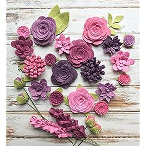 25 Wool Felt Flowers 24 Leaves - Purple Wool Felt Fabric Flowers - Vineyard Felt Flowers - Large Posies 8