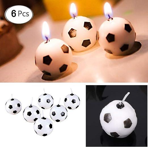 Amazon.com: hacloser 6pcs/set fútbol velas para fiesta de ...