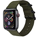 METEQI Bands Woven Nylon Sport Loop Wrist Strap for 44mm 42mm 40mm 38mm Compatible with iwatch Series 5/4/3/2/1 (42mm/44mm, Army Green)