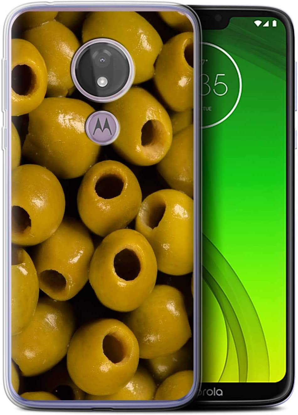 Phone Case for Motorola Moto G7 Power Food Olives Design Transparent Clear Ultra Soft Flexi Silicone Gel/TPU Bumper Cover