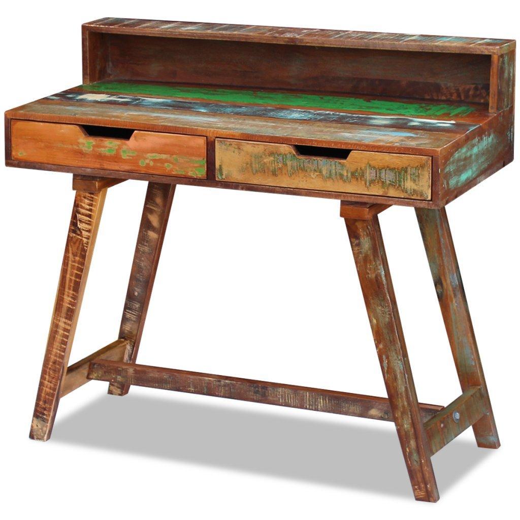 vidaXL Escritorio Mesa Vintage Dos Cajones Madera Maciza Reciclada 100x45x90cm: Amazon.es: Hogar