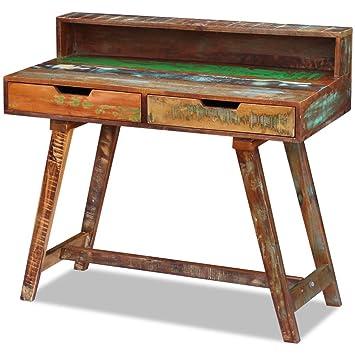 Festnight Schreibtisch Arbeitstisch Bürotisch Aus Recyceltes Massivholz  Retro Stil Mit 2 Schubladen Für Kinderzimmer,