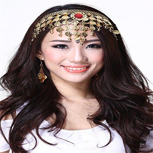 Disfraz de cristal campanas monedas danza del vientre Accesorios hembra Pinza para el pelo aro