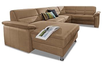 Sofa Couch Premium Leder Wohnlandschaft Alice Braun Mit Federkern