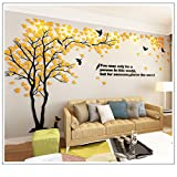 3D wall Decals Trees & Birds DIY Wall Stickers TV Setting Wall TV Sofa backdrop for Wall Decor Home Decor 59 inch tall (Medium 2.9x1.5m, Yellow)