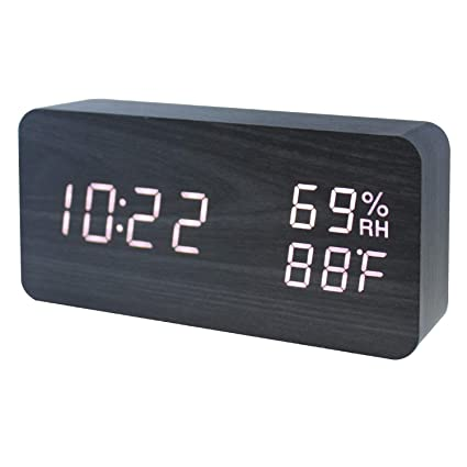 Reloj despertador de madera LED Temperatura digital y humedad Escritorio de oficina electrónico Dormitorio casero Reloj