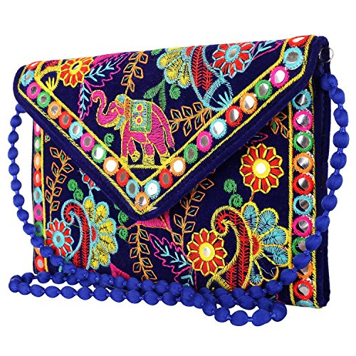 Rajasthani Jaipur Indian Handmade Potli Vintage Tribal Banjara Bohemian Clutch Handbags (blue1)