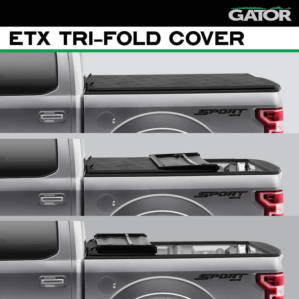Amazon Com Gator Etx Soft Tri Fold Truck Bed Tonneau Cover 59315 Fits 2017 2021 Ford Super Duty 6 10 Bed 81 9 Made In The Usa Automotive