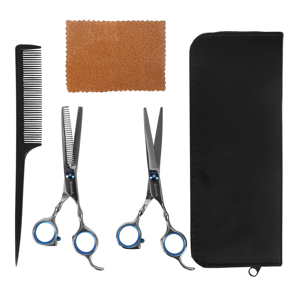 Professional Hair Cutting Scissors Barber Shears Set Hair Thinning Kit with Black Storage Case by Queentools (Image #2)