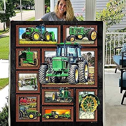 Green Tractor Custom Fleece Blanket