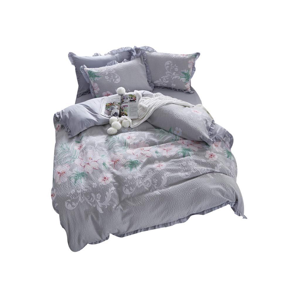 寝具4セットの新鮮で美しい王女スタイルのレースのレースシールズピリングシーツキルトカバー枕カバーホームテキスタイル B07SGJDTNG