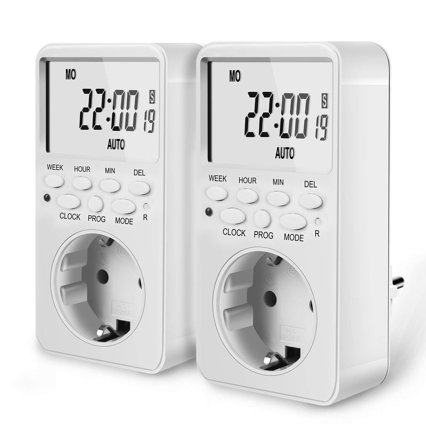 2x COCIER Enchufe Programable, Programador Digital Temporizador Enchufe, 20 Programas, con Pantalla LCD