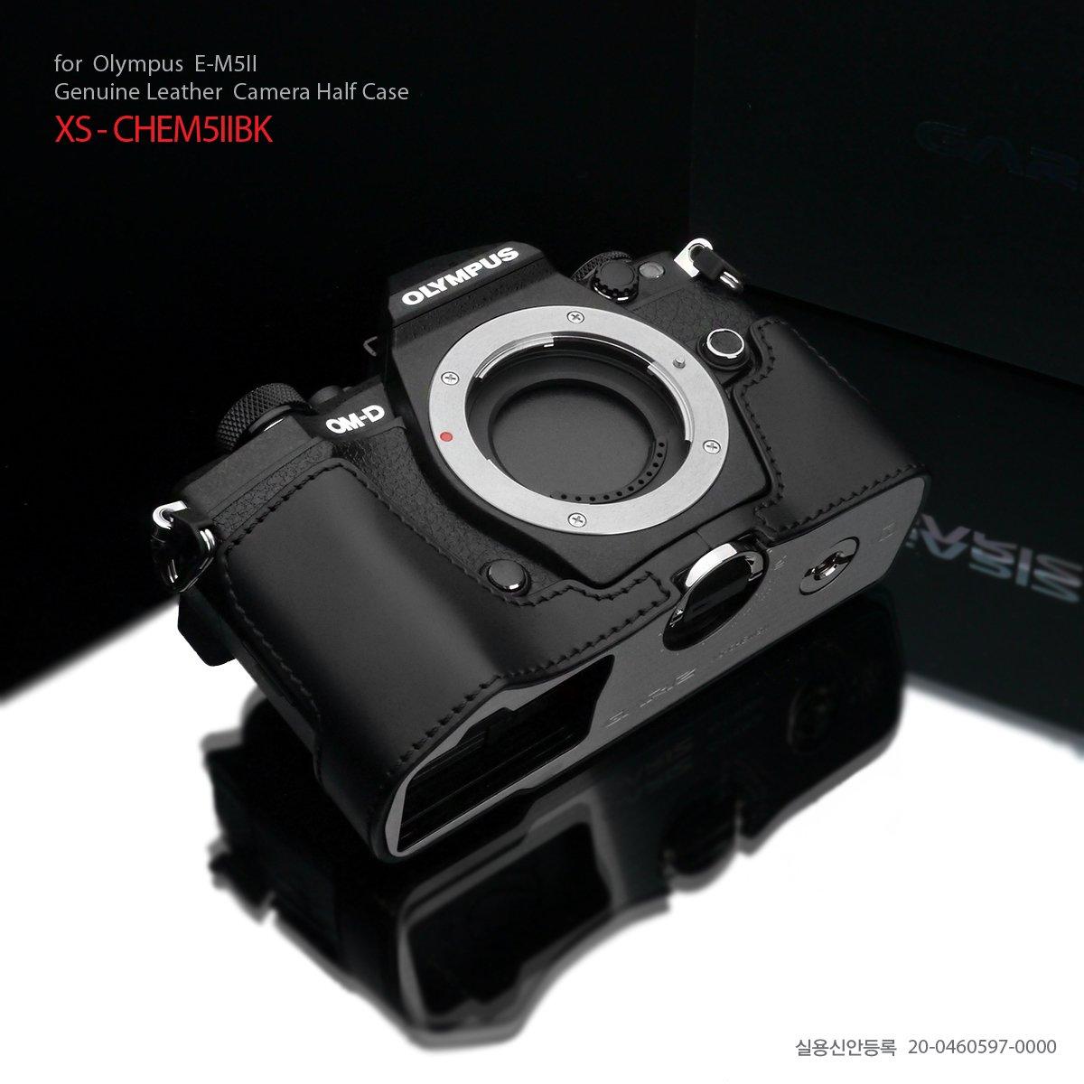オリンパス GARIZ/ゲリズ OLYMPUS OM-D E-M5 MarkII用 本革 カメラケース デジタル一眼カメラケース (ブラック) [並行輸入品]  ブラック B00W6NZZ7M