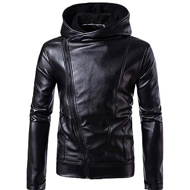 Chaqueta de Cuero para Hombre Otoño & Invierno Biker Motocicleta con Cremallera Outwear Warm Coat de
