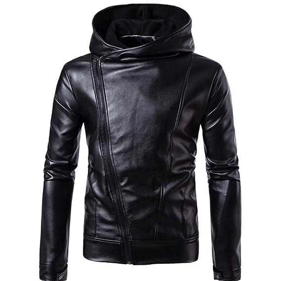 Chaqueta de Cuero para Hombre Otoño & Invierno Biker Motocicleta con Cremallera Outwear Warm Coat de Internet.: Amazon.es: Ropa y accesorios