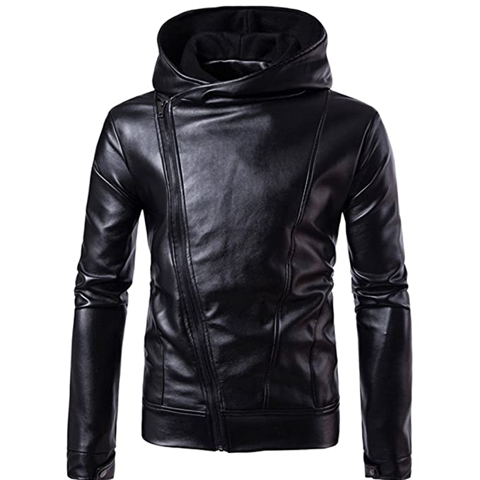 REYO Mens Coats Clearance Sale Men Warm Coat Leather Jacket ...