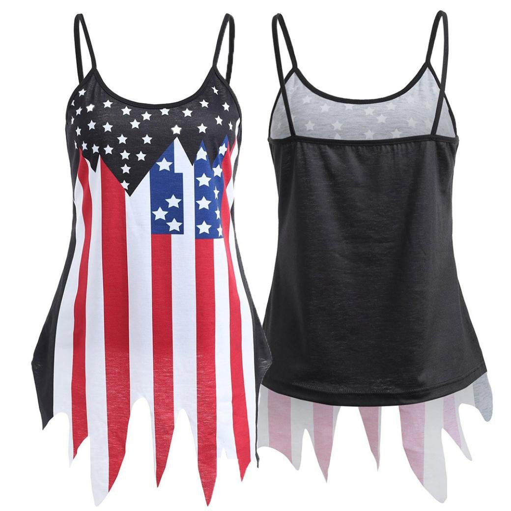 Amazon.com: Owill Women Ladies Casual Sleeveless American Flag Irregular Hem Slip Tops Tank Blouse: Clothing