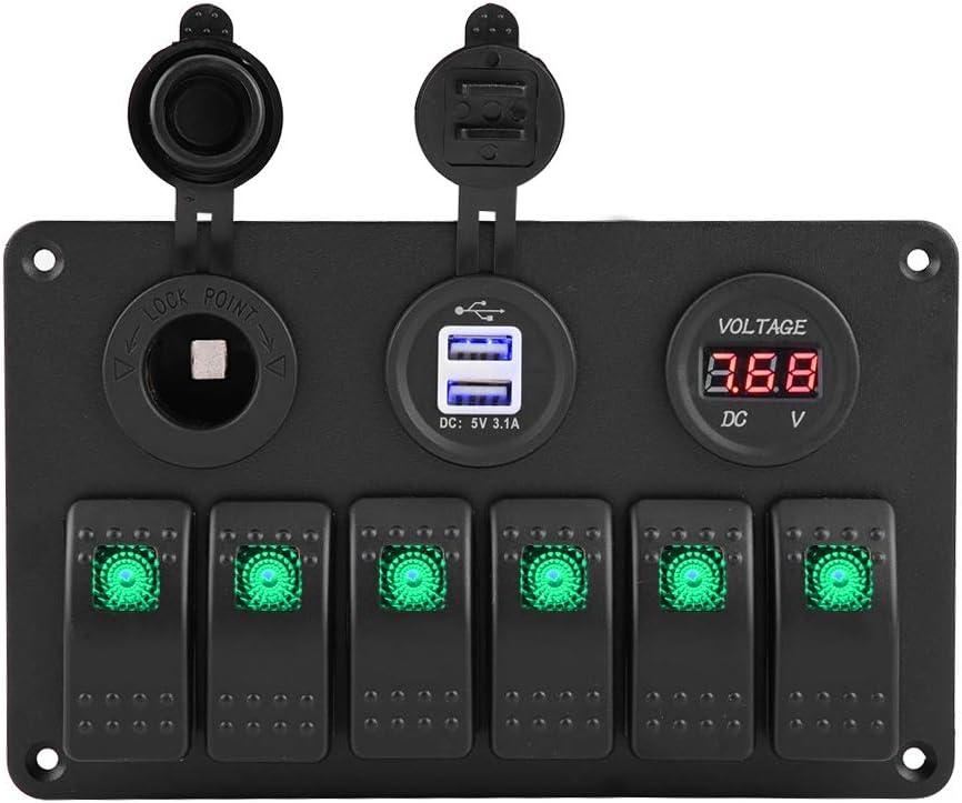 6 Gang Car Boat Marine LED Panel de interruptores basculante LED Volt/ímetro USB Dual Encendedor de Cigarrillos 12 Panel de interruptores LED 24V