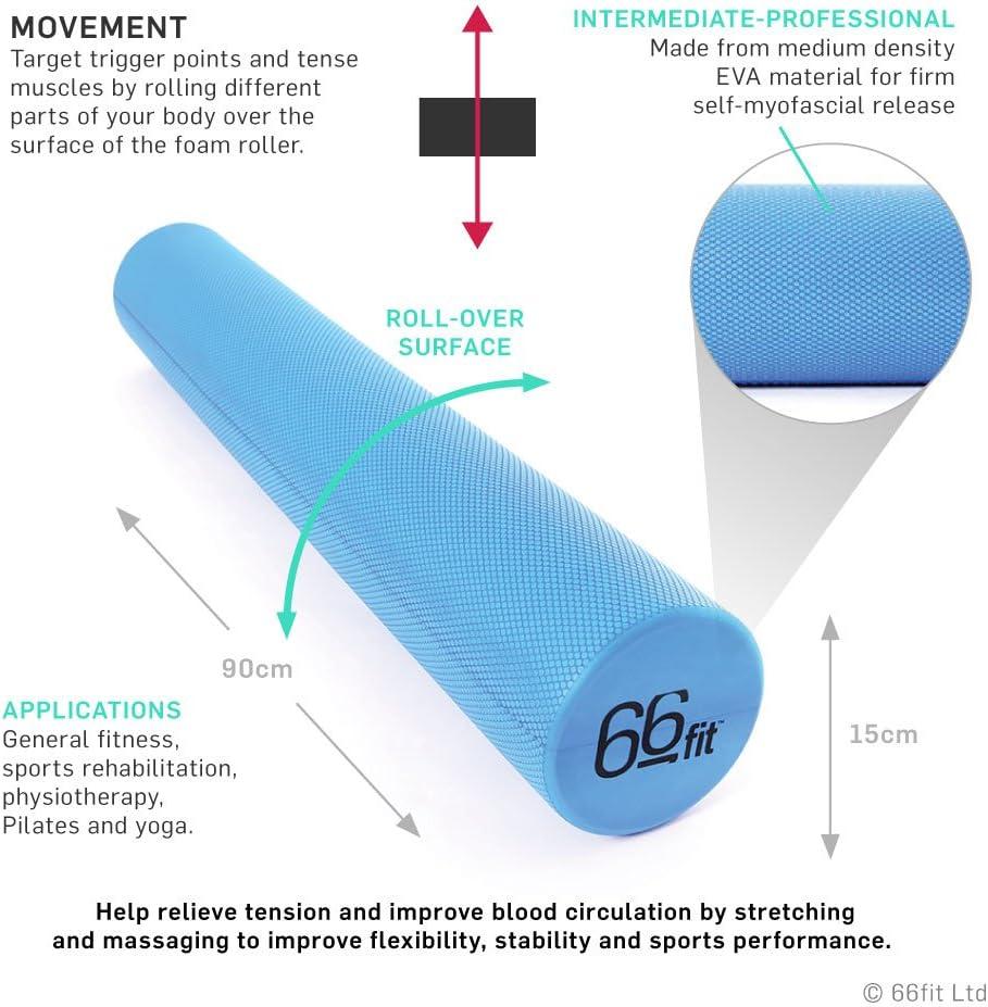 Physio Pilates Yoga Trigger Point Massage 66fit EVA Foam Roller 10cm x 90cm