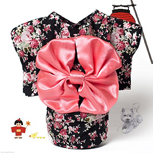 CocoGo® Japanese Kimono Style Costume Dog Clothes for Small Dog Puppy Cat Pet (Black, XS)