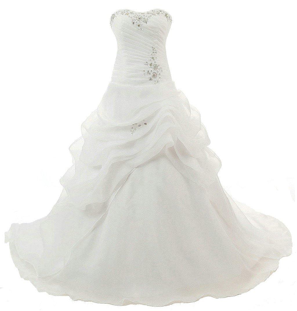 Ivory Vantexi Women's Strapless Ruffled Organza Aline Wedding Dress Bridal Gown