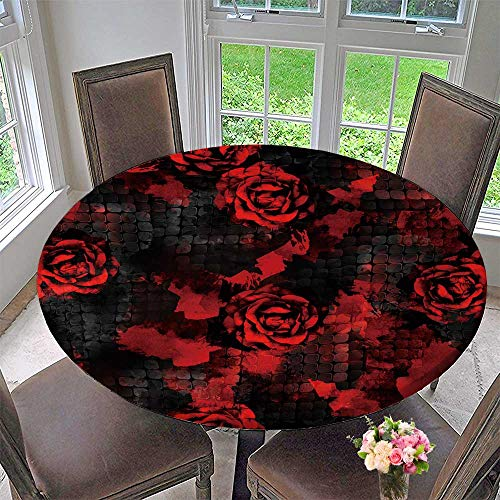(Chateau Easy-Care Cloth Tablecloth with Roses and Snakeskin Background with Effect Textile for Home, Party, Wedding 47.5