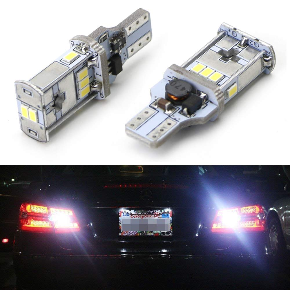 iJDMTOY (2) CAN-bus Error Free 912 921 T15 LED Bulbs For European Cars such as Audi BMW Mercedes Porsche Volkswagen For Backup Reverse Lights, Xenon White iJDMTOY Auto Accessories 912 921 904 906 920 T13 Wedge High Power