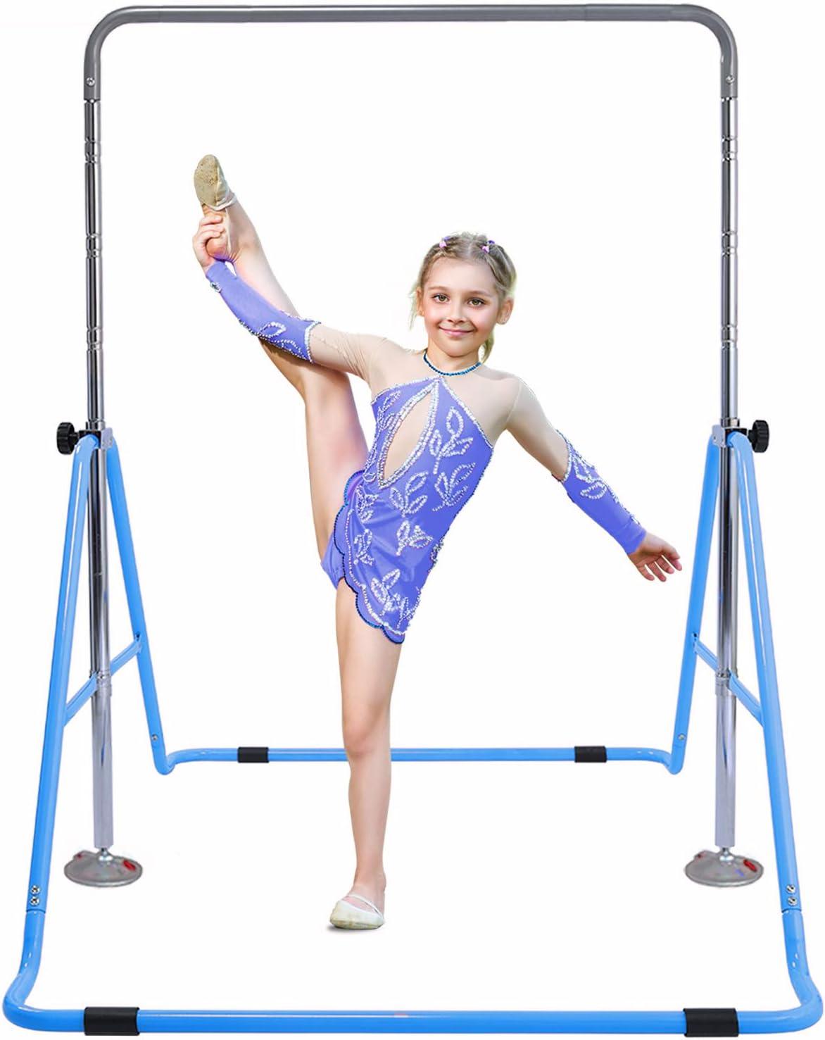 Gymnastics Training Bar for Kids Folding Gymnastic Horizontal Bars with Adjustable Height Boys Girls Practice Bar Gymnastic for Kid Child Junior Training Bar for Home Using