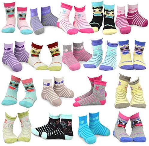 Butterfly TeeHee Kids Girls  Fashion Crew Socks 6 Pair Pack