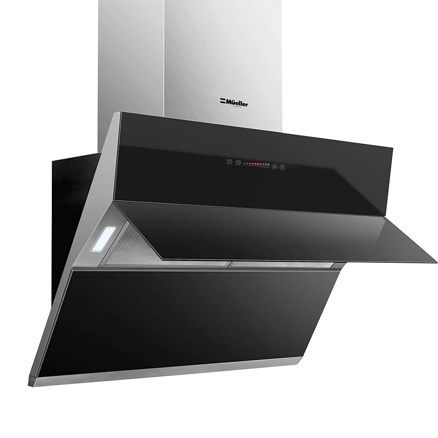 "Mueller Deluxe 36"" High Air Flow Modern Eurocentric Style Wall Mount Satin Finish & Black Tempered Glass LED Touch Control Oven Range Hood Vent Cooking Fan"