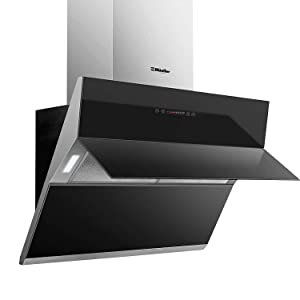 """Mueller Deluxe 36"""" High Air Flow Modern Eurocentric Style Wall Mount Satin Finish & Black Tempered Glass LED Touch Control Oven Range Hood Vent Cooking Fan"""