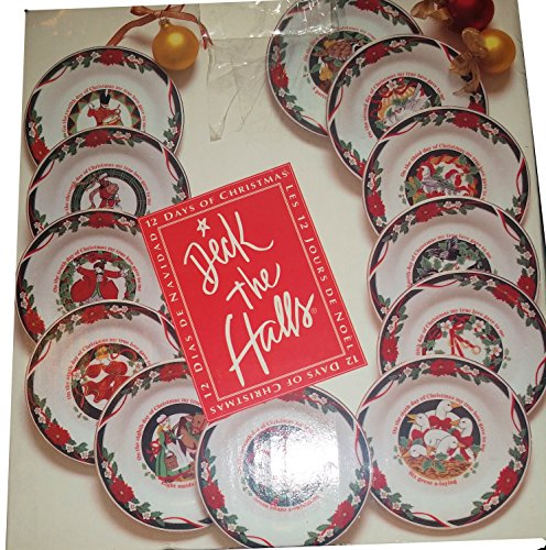 Tienshan Deck the Halls - Set of 12 Desert Plates Featuring 12 different designs corresponding to the Famous Christmas Carole - The 12 Days of Christmas