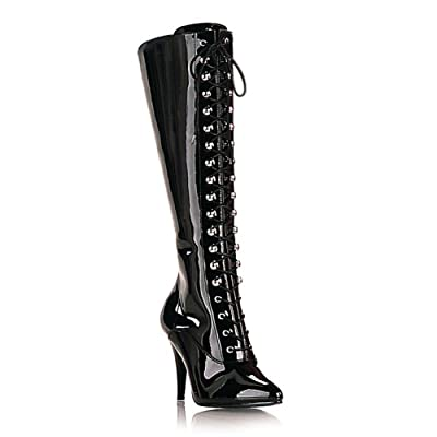 4 Inch High Heel Patent Boots Lace Up Pointed Toe Knee High Women's Sexy Boots