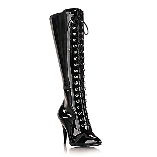 ddfb60cb2dc Amazon.com | 4 Inch High Heel Patent Boots Lace Up Pointed Toe Knee ...