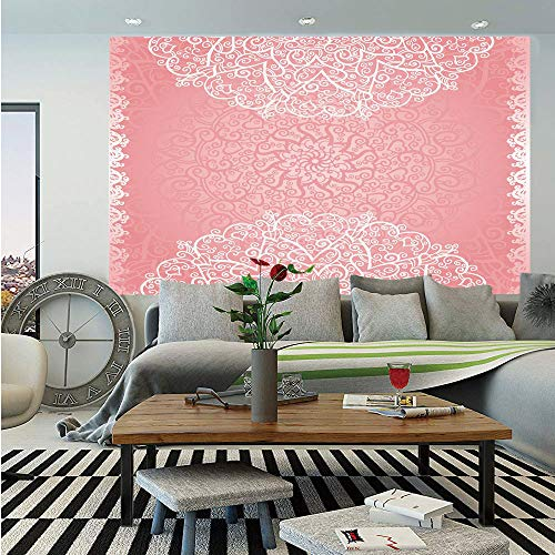 (Light Pink Removable Wall Mural,Doily Inspired Cute Lace Style Round Motifs with Ornate Intricate Hearts Decorative,Self-Adhesive Large Wallpaper for Home Decor 66x96 inches,Coral White)