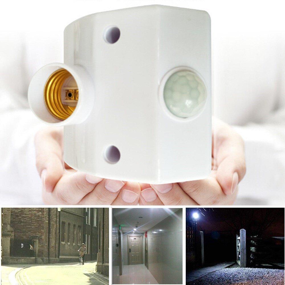 AKDSteel E27 220V Infrared Motion Sensor Automatic Light Lamp Holder Switch Intelligent Light Base