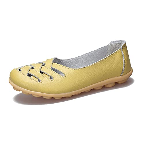 46e6199f265 fereshte Women s Cutout Genuine Leather Loafers Casual Moccasin Driving  Shoes Indoor Flat Slip-On Slippers