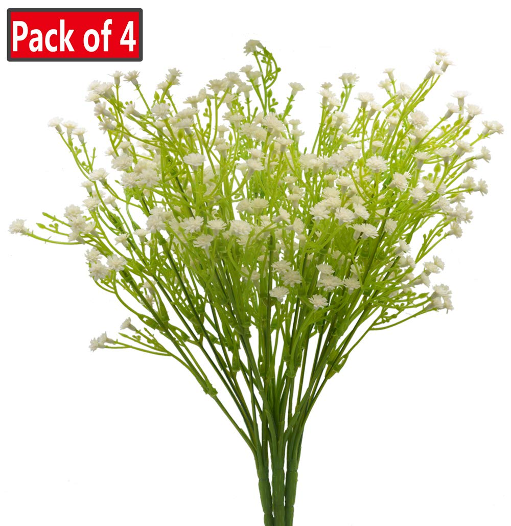 Artificial Plants Gypsophila Faux Breath UV Resistant Fake Shrubs Simulation Greenery Bushes House Office Garden Patio Indoor Outdoor Decor Wedding Table Flowers Arrangement Bouquet Filler - 4pcs
