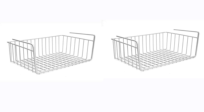 "For 749/-(50% Off) Go Hooked 16"" Undershelf Storage Basket Under Cabinet Storage Organizer (2 Pc, Silver) at Amazon India"