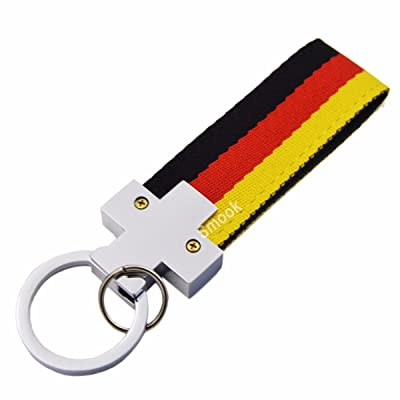 Germany Flag Stripe Nylon Band w/ Inner Leather Key Chain Strap Trim Decal for VW Audi Mercedes Porsche ect. Europe Car: Automotive