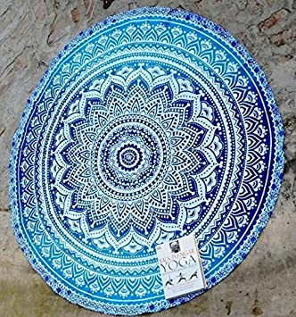 RawyalCrafts Tenture tapis de yoga rond Mandala indien en coton ... 0d9bdf9dd58